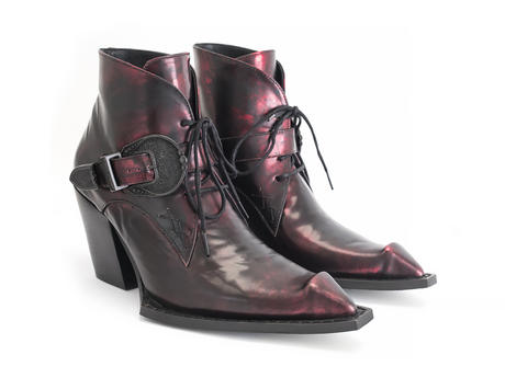 Fauvist Fries Red Buckled lace-up ankle boot