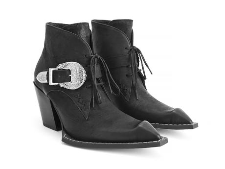 Fauvist Fries Black Buckled lace-up ankle boot