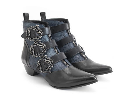 Eileen Blue Ornate ankle boot