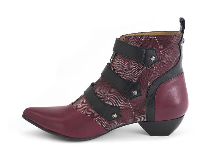 Eileen Red Ornate ankle boot