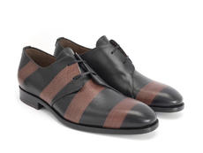 Manhattan: Men's Brown Striped Asymmetrical derby shoe