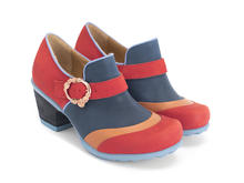 Faith Red/Blue Rose buckled shoe