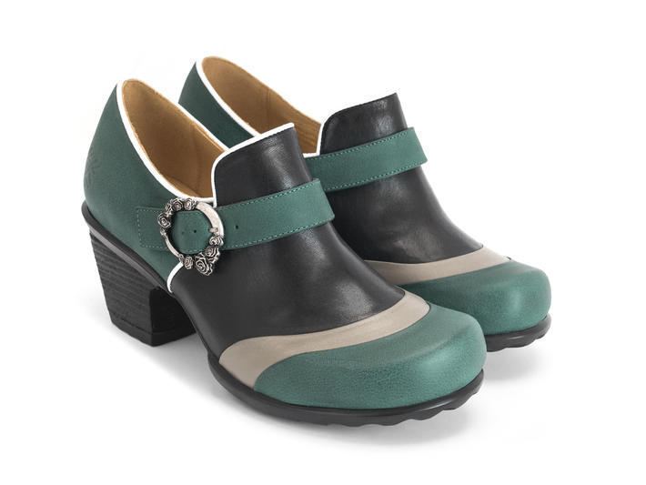 Faith Green/Black Rose buckled shoe