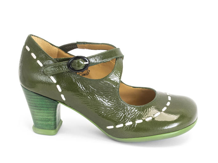 Malibran Olive Criss-crossed Mary jane Heel
