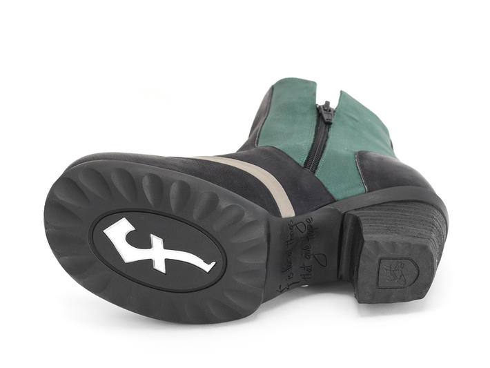 Dove Green/Black Rose buckled boot