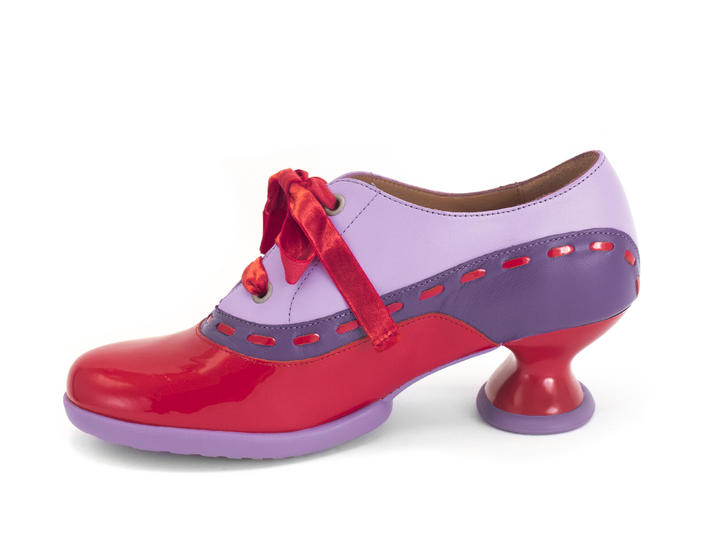 Peacemaker Red/Purple/Pink Lace-up shoe with stitching