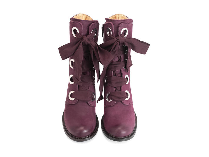 Gladstone Purple Mid-calf lace-up boot