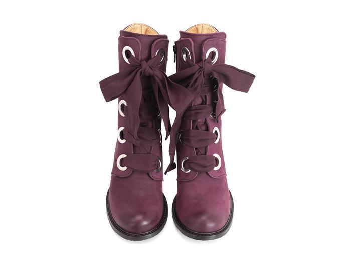 Gladstone Violet Botte mi-mollet à lacets
