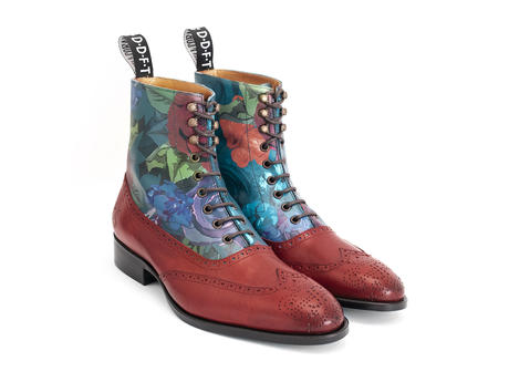 Gia Dinh Floral/Red Floral brogue boot