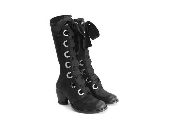 Adanac Black Mid-shin lace-up boot