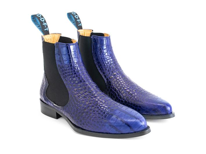 Kid: Men's Blue Crocodile embossed chelsea boot