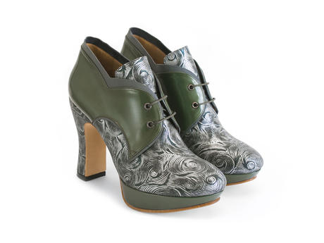 Gaea Green Platform lace-up shoe