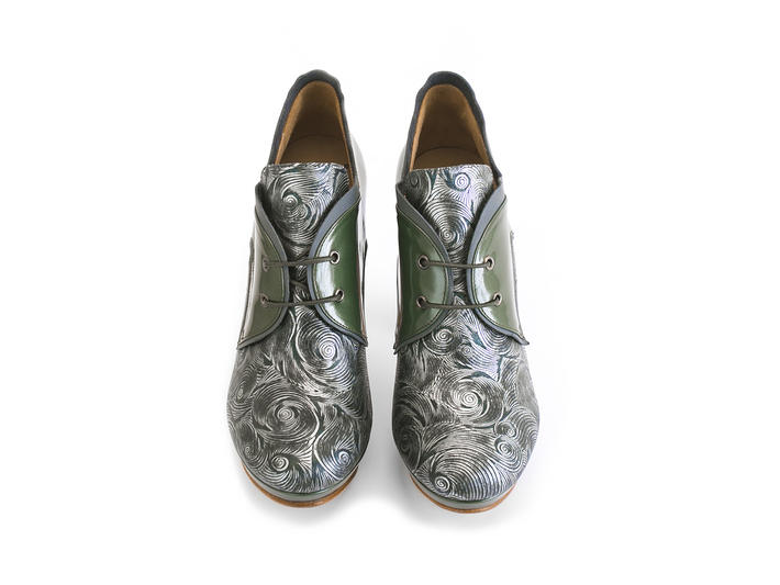 Gaea Green Platform lace-up shoe