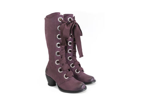 Adanac Purple Mid-shin lace-up boot