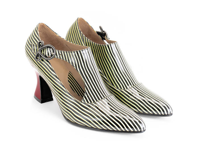 Darla Striped Buckled leather heel