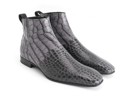Burghley: Men's Purple/Grey embossed Square toe ankle boot