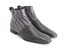 Burghley: Men's Grey embossed Square toe ankle boot