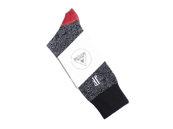 Dango Vog Socks Black/Red Paisley knit sock