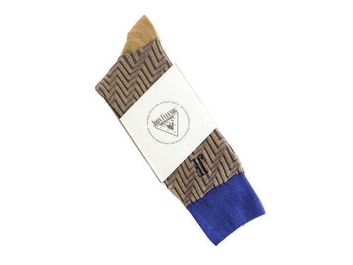 Papo Vog Socks Yellow/Blue Geometric zigzag sock