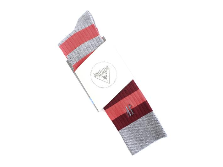 Beu Vog Socks Red/Grey Tall striped sock