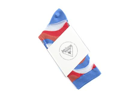 Peggy-Sue Vog Socks Blue Wave patterned sock