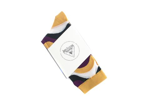 Peggy-Sue Vog Socks Yellow Wave patterned sock