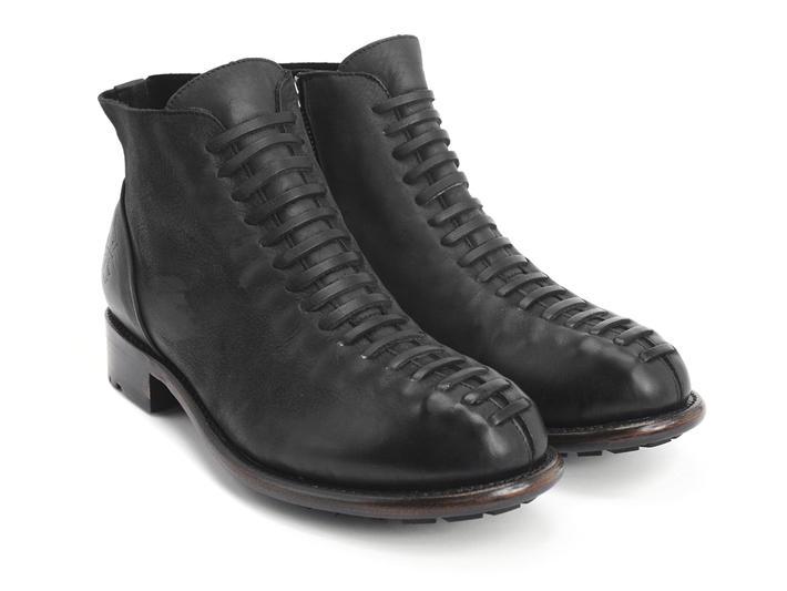 Babette : Hommes Noir Bottillon avec faux lacets