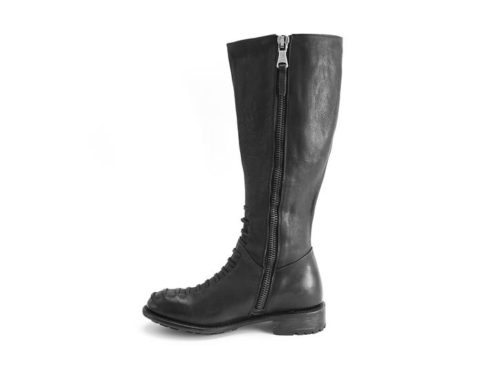 Emilie Black Tall boot with faux laces