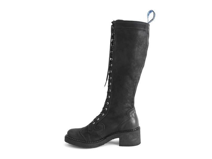 Procrastinator Black Crepe soled tall boot