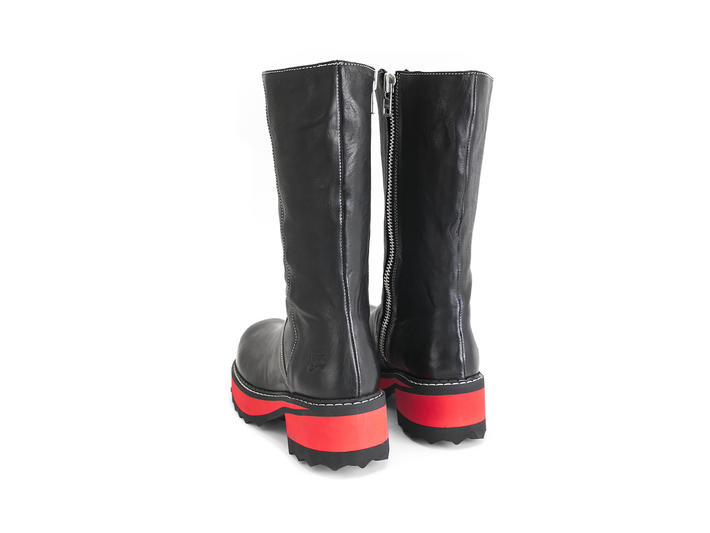 Yolanda Black/Red Sole Rubber soled boot
