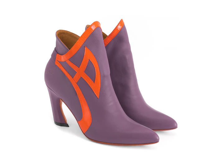 Gogo Purple Ankle boot with trim