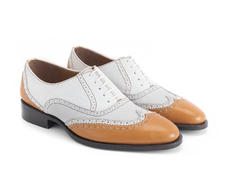 Toledo White/Orange Double wingtip oxford