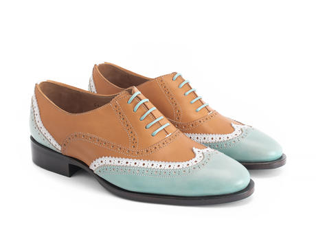Toledo Blue/Orange Double wingtip oxford
