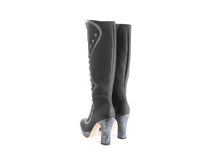 Maia Black Tall boot with buttons