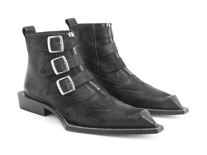 Ryder Black Bumped toe ankle boot