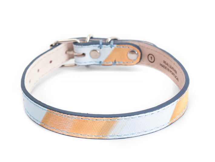 JF Dog Collar Orange/Blue Striped Leather dog collar