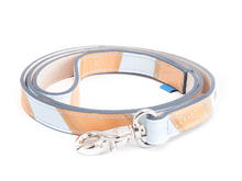 JF Dog Leash Orange/Blue Striped Leather dog leash