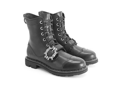 Isenberg Black Buckled derby boot