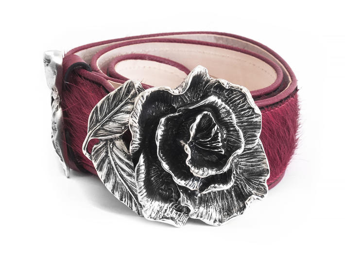 Rohesia Wine Waist belt with rose