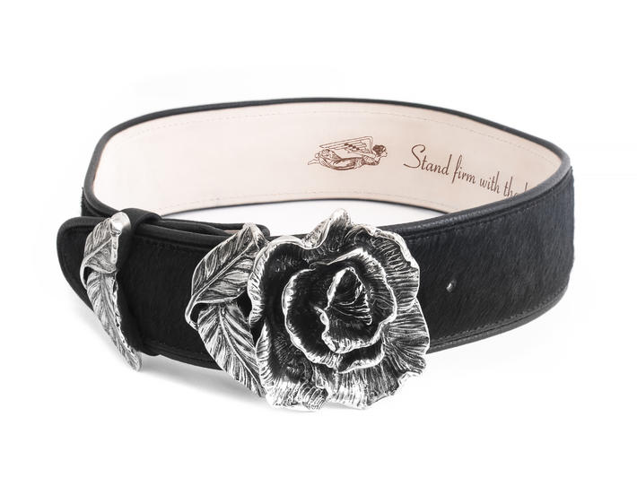 Rohesia Black Waist belt with rose