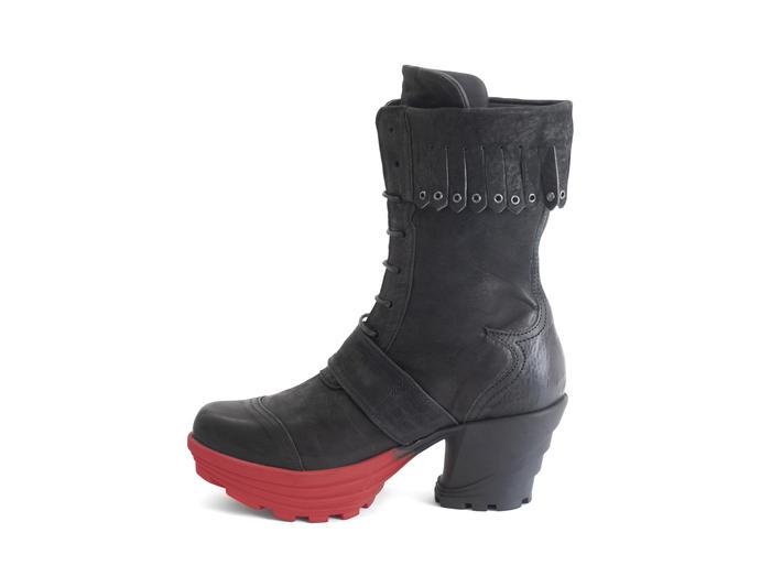 Empress Black/Red Platform boot with fringe