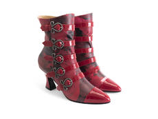 Millie Red Floral Strappy boot with buckles