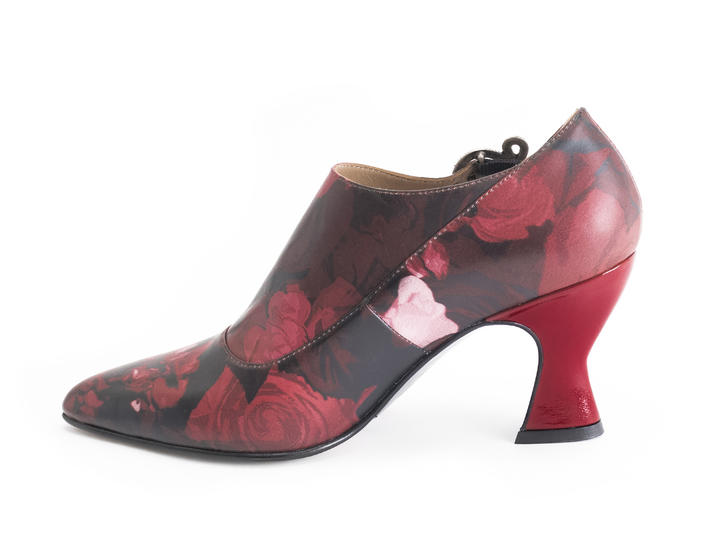 Darla Red Floral Buckled leather heel
