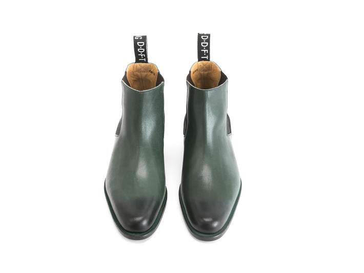 1224 Stark St Green Leather chelsea boot