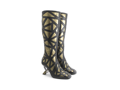 Turner Gold Tall boot with metal heel