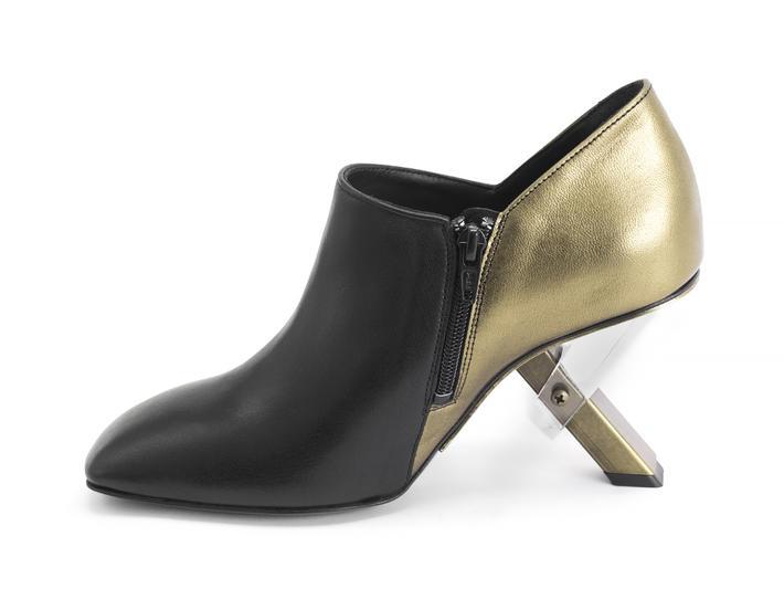 Lauper Black/Gold Shoe with metal heel
