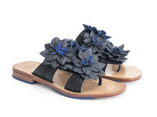 Madeira Blue Flat sandal with leather flowers