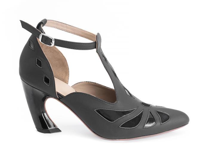 Bop Black Geometric T-strap heel