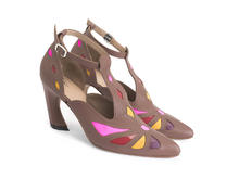 Bop Brown Geometric T-strap heel