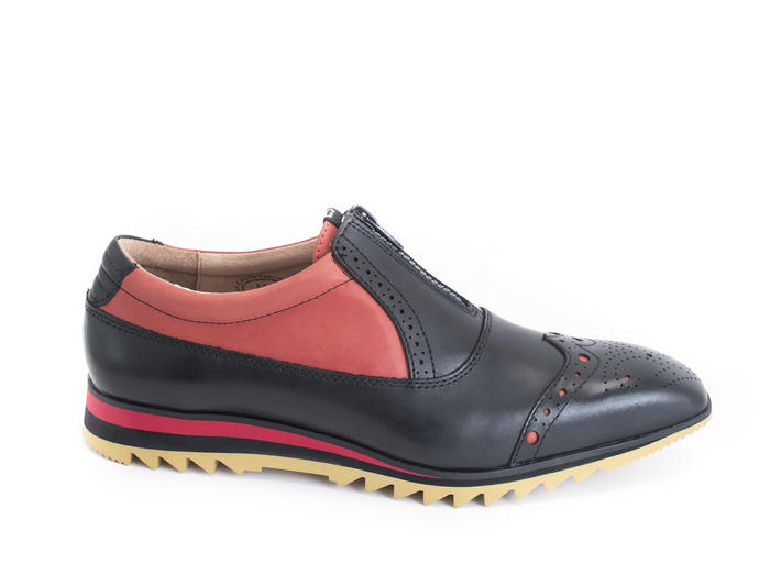 Nick Black/Red Brogued oxford sneaker